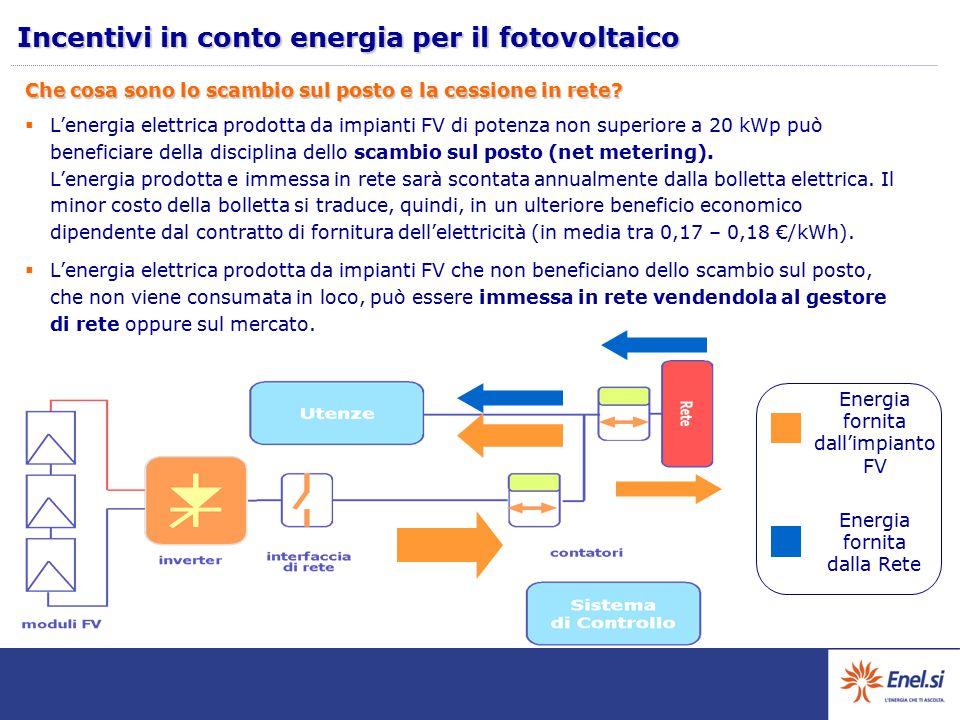 Che cosa sono lo scambio sul posto e la cessione in rete?  L'energia elettrica prodotta da impianti FV di potenza non superiore a 20 kWp può benefici