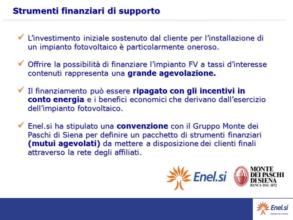Strumenti finanziari di supporto L'investimento iniziale sostenuto dal cliente per l'installazione di un impianto fotovoltaico è particolarmente onero