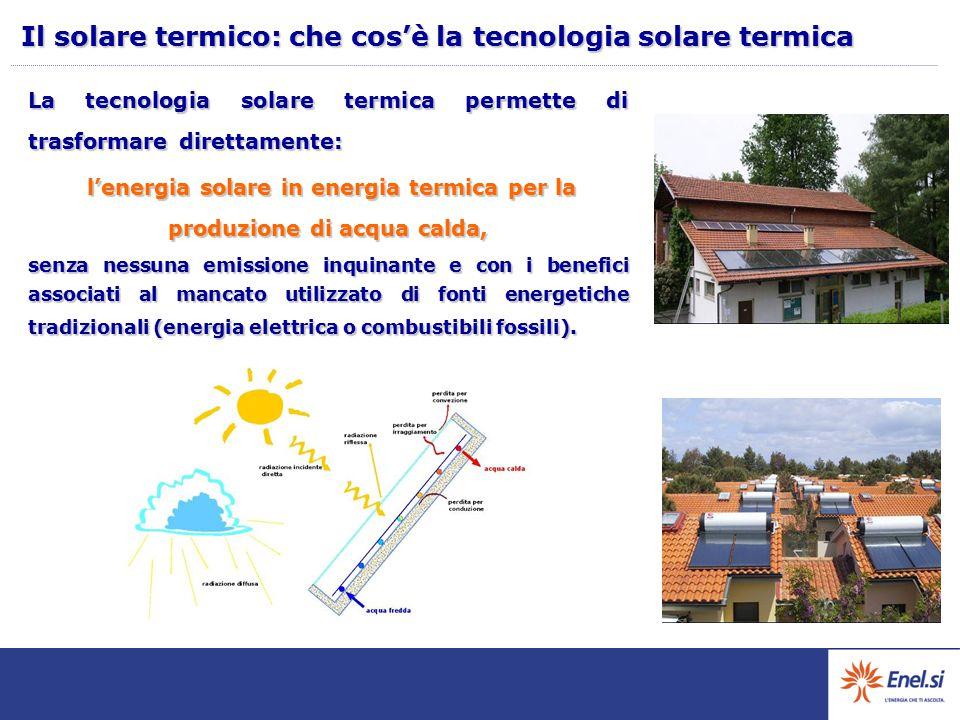 La tecnologia solare termica permette di trasformare direttamente: l'energia solare in energia termica per la produzione di acqua calda, l'energia solare in energia termica per la produzione di acqua calda, senza nessuna emissione inquinante e con i benefici associati al mancato utilizzato di fonti energetiche tradizionali (energia elettrica o combustibili fossili).