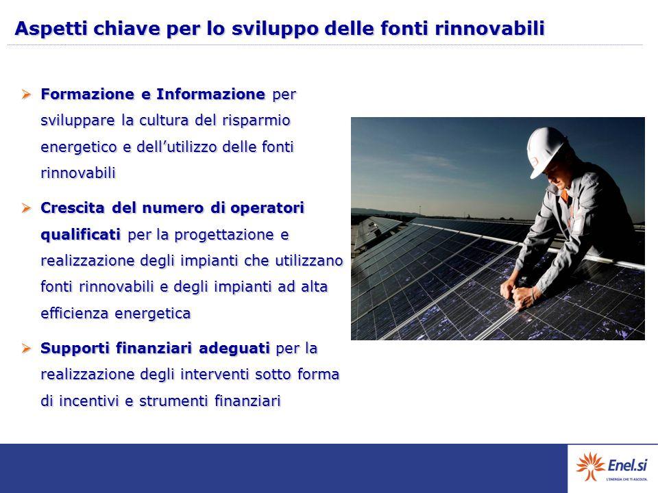 Aspetti chiave per lo sviluppo delle fonti rinnovabili  Formazione e Informazione per sviluppare la cultura del risparmio energetico e dell'utilizzo delle fonti rinnovabili  Crescita del numero di operatori qualificati per la progettazione e realizzazione degli impianti che utilizzano fonti rinnovabili e degli impianti ad alta efficienza energetica  Supporti finanziari adeguati per la realizzazione degli interventi sotto forma di incentivi e strumenti finanziari