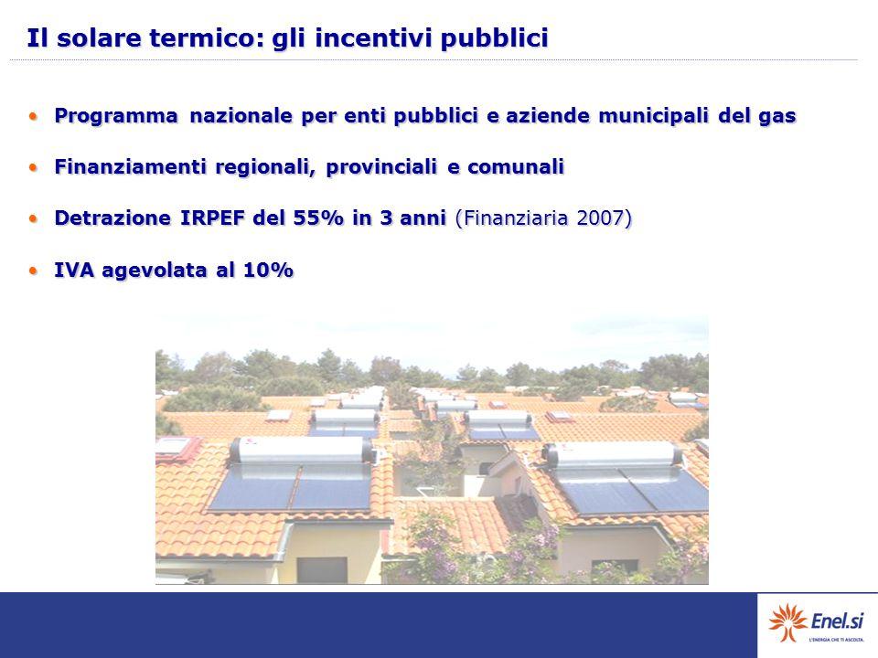 Il solare termico: gli incentivi pubblici Programma nazionale per enti pubblici e aziende municipali del gasProgramma nazionale per enti pubblici e az