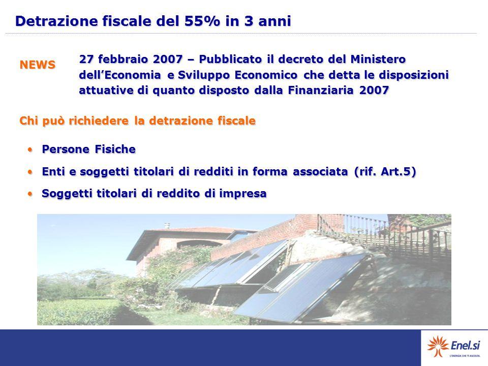 Detrazione fiscale del 55% in 3 anni 27 febbraio 2007 – Pubblicato il decreto del Ministero dell'Economia e Sviluppo Economico che detta le disposizio