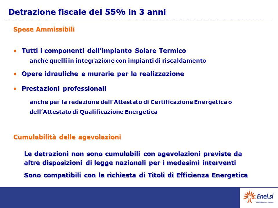 Detrazione fiscale del 55% in 3 anni Tutti i componenti dell'impianto Solare TermicoTutti i componenti dell'impianto Solare Termico anche quelli in in