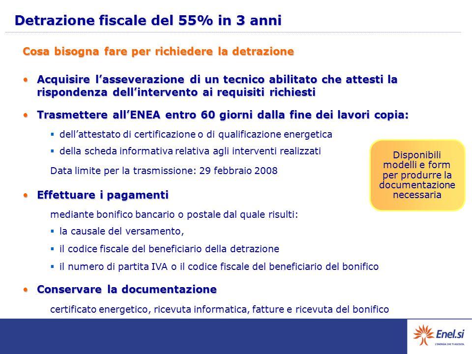 Detrazione fiscale del 55% in 3 anni Acquisire l'asseverazione di un tecnico abilitato che attesti la rispondenza dell'intervento ai requisiti richies