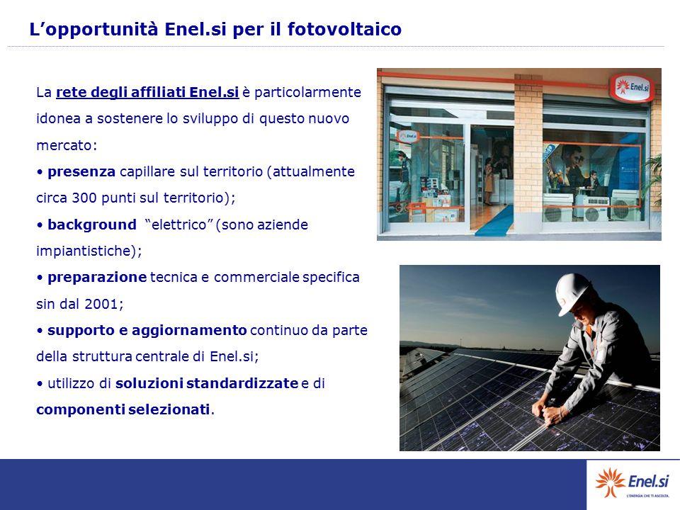 L'opportunità Enel.si per il fotovoltaico La rete degli affiliati Enel.si è particolarmente idonea a sostenere lo sviluppo di questo nuovo mercato: pr