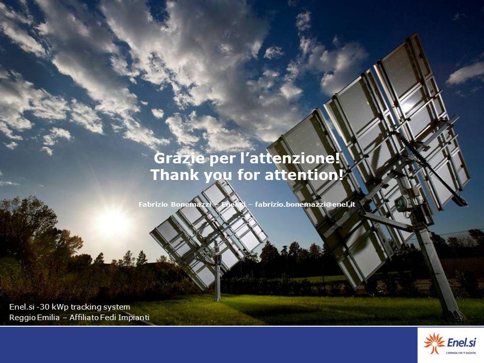 Grazie per l'attenzione! Thank you for attention! Fabrizio Bonemazzi – Enel.si – fabrizio.bonemazzi@enel.it Enel.si -30 kWp tracking system Reggio Emi