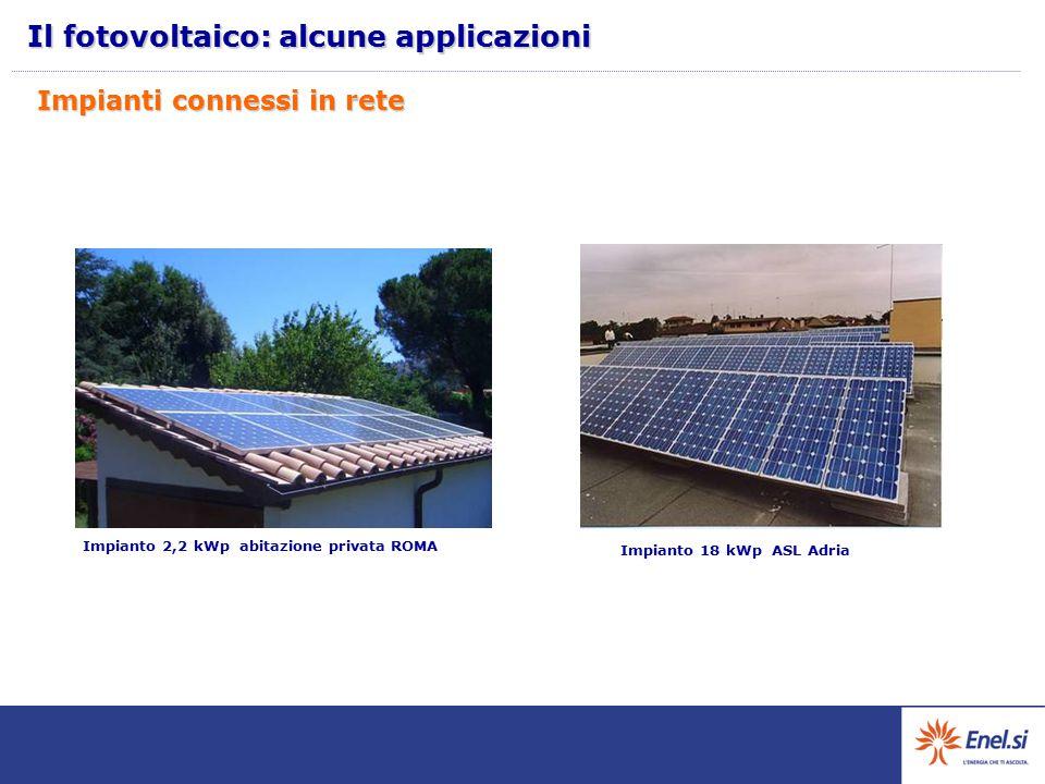 Impianto 2,2 kWp abitazione privata ROMA Impianto 18 kWp ASL Adria Impianti connessi in rete Il fotovoltaico: alcune applicazioni