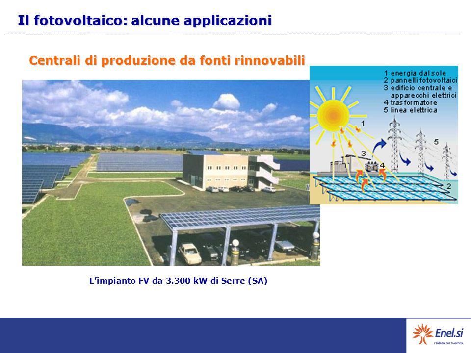 Centrali di produzione da fonti rinnovabili L'impianto FV da 3.300 kW di Serre (SA) Il fotovoltaico: alcune applicazioni