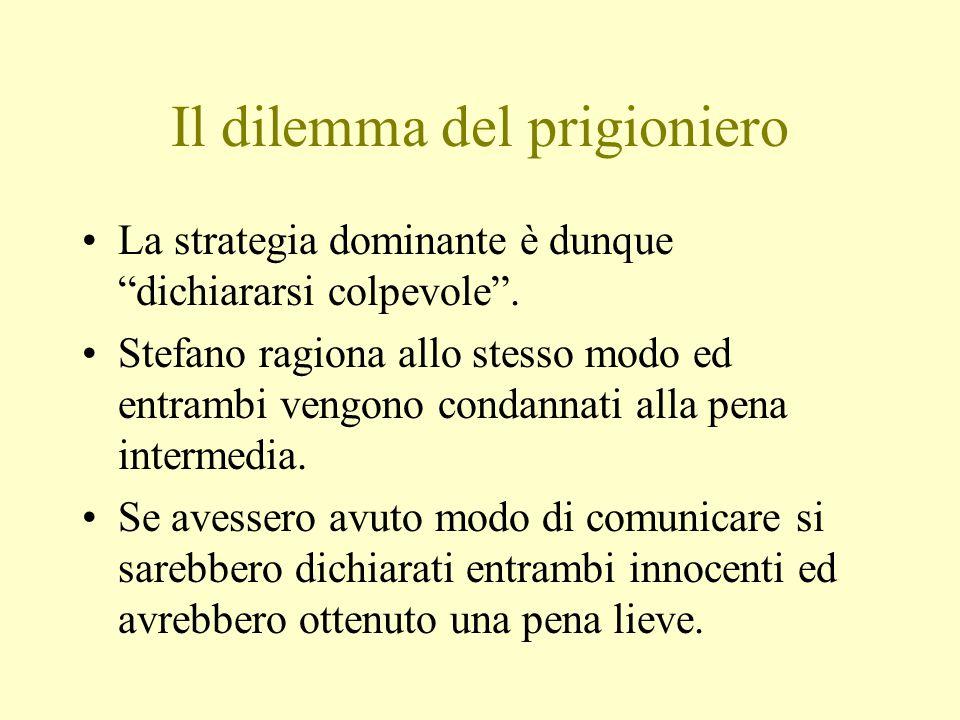 Il dilemma del prigioniero La strategia dominante è dunque dichiararsi colpevole .