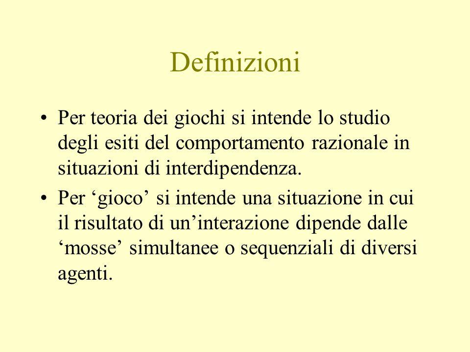 Definizioni Per teoria dei giochi si intende lo studio degli esiti del comportamento razionale in situazioni di interdipendenza.