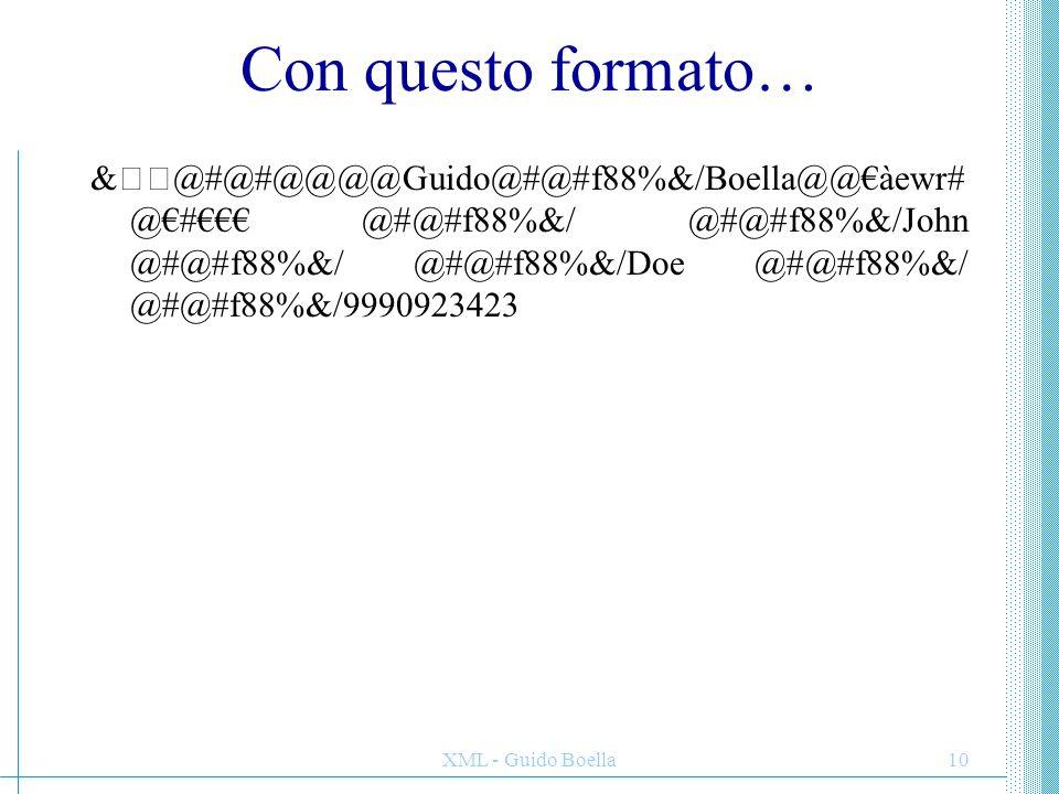 XML - Guido Boella10 Con questo formato… &@#@#@@@@Guido@#@#f88%&/Boella@@€àewr#@€ #€€€ @#@#f88%&/ @#@#f88%&/John @#@#f88%&/ @#@#f88%&/Doe @#@#f88%&/ @