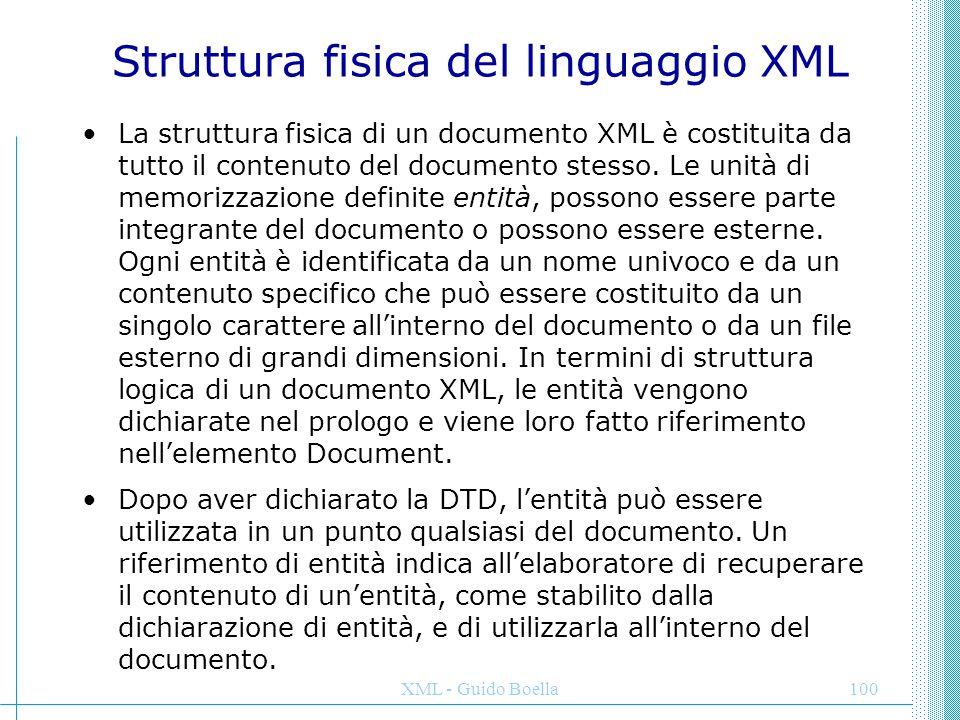 XML - Guido Boella101 ENTITA' DI PARAMETRO Un'entità non analizzabile viene indicata talvolta come entità binaria in quanto il contenuto è spesso costituito da un file binario, ad esempio un'immagine, che non può essere interpretato direttamente dall'elaboratore XML.