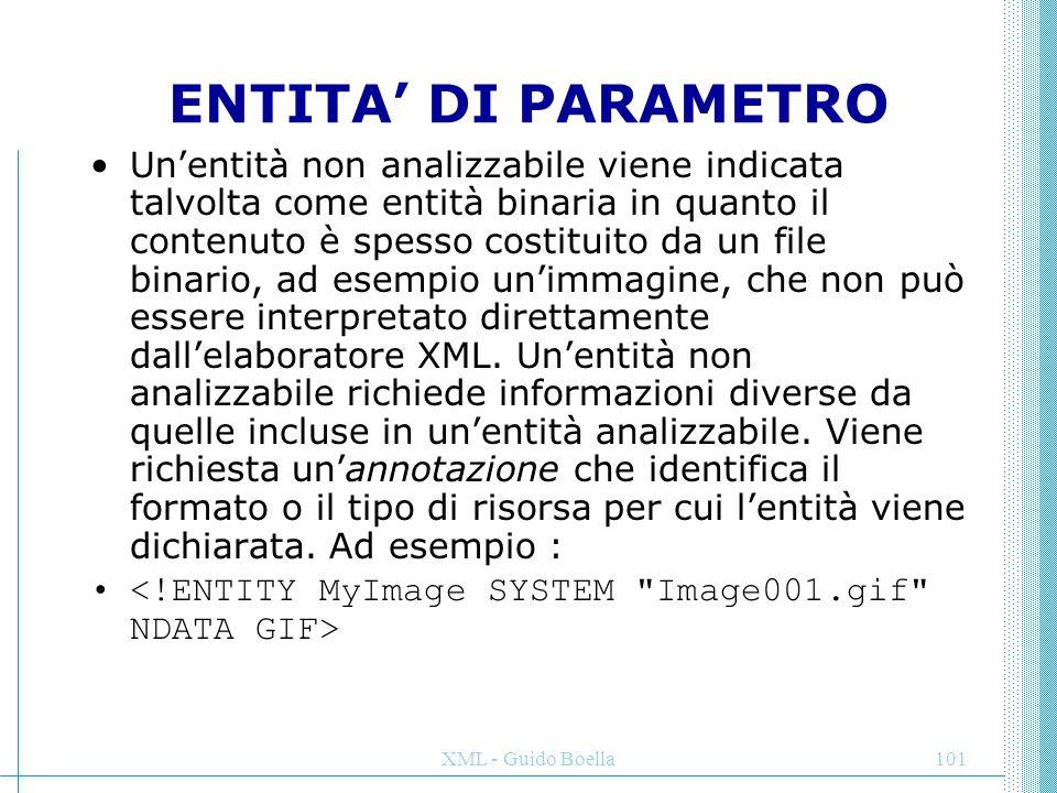 XML - Guido Boella101 ENTITA' DI PARAMETRO Un'entità non analizzabile viene indicata talvolta come entità binaria in quanto il contenuto è spesso cost