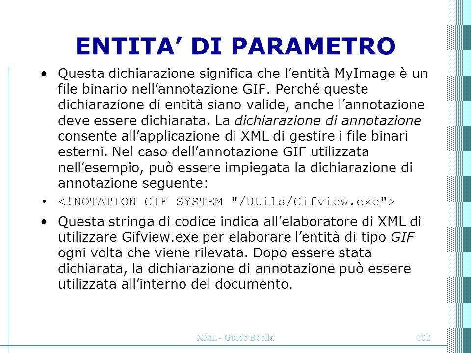 XML - Guido Boella103 ENTITA' INTERNE ED ESTERNE Nel primo caso si tratta di un'entità in cui non esistono unità di memorizzazione fisica separate e il cui contenuto viene fornito nella dichiarazione corrispondente, ad esempio: Un'entità esterna fa riferimento a un'unità di memorizzazione nella dichiarazione mediante un identificatore pubblico o di sistema.