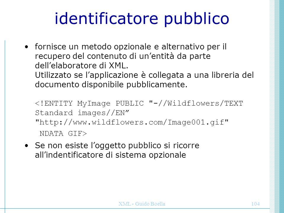 XML - Guido Boella105 RIFERIMENTI DI ENTITA' DI PARAMETRO Un altro tipo di riferimento è quello relativo all'entità di parametro che utilizza un modulo (%) invece di una e commerciale anche se l'aspetto è simile a qualsiasi altro riferimento di entità.