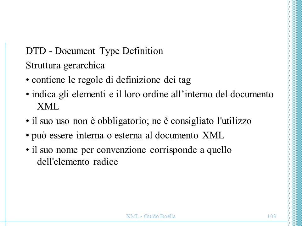 XML - Guido Boella110 una DTD XML che rappresenta la struttura definita precedentemente: <!DOCTYPE biblioteca [ <!ATTLIST libro codice ID #REQUIRED> ]> Elemento (1) Elemento .