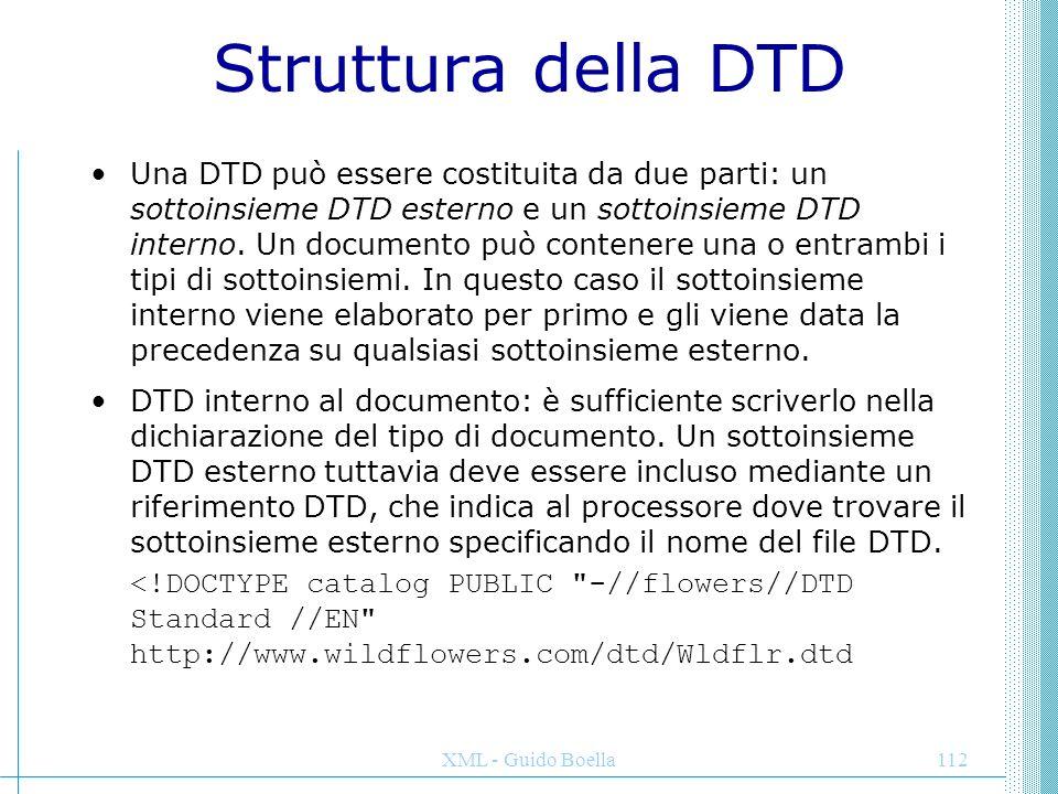 XML - Guido Boella112 Struttura della DTD Una DTD può essere costituita da due parti: un sottoinsieme DTD esterno e un sottoinsieme DTD interno. Un do