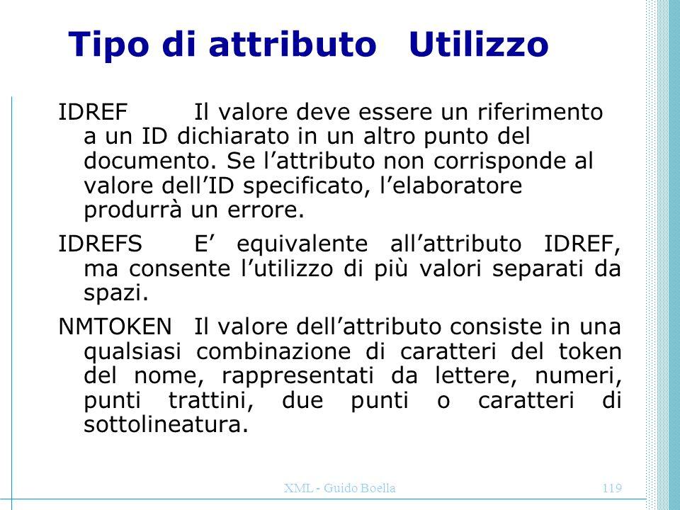 XML - Guido Boella119 Tipo di attributoUtilizzo IDREF Il valore deve essere un riferimento a un ID dichiarato in un altro punto del documento. Se l'at