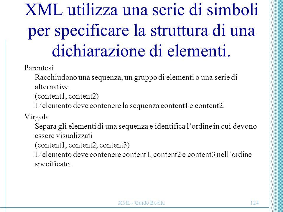 XML - Guido Boella125 Pipe Separa gli elementi in un gruppo di alternative (content1| content2 | content3) L'elemento deve contenere content1, content2 o content3.