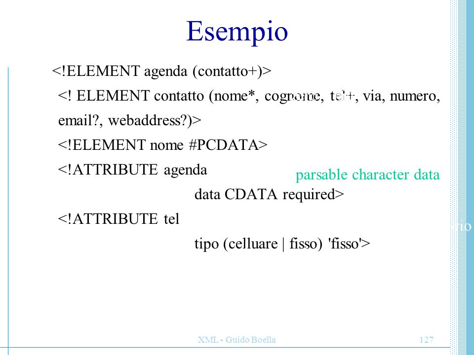 XML - Guido Boella127 Esempio parsable character data character data attributo obbligatorio valori possibilidefault almeno uno zero o più uno opzional