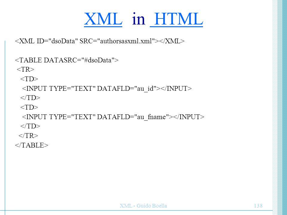 XML - Guido Boella139 Graham Greene 32454345 James Joyce 43535345 authors author name id
