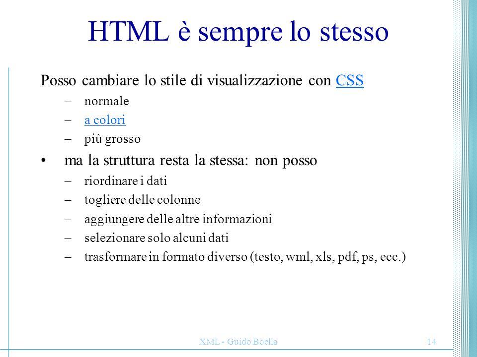 XML - Guido Boella14 HTML è sempre lo stesso Posso cambiare lo stile di visualizzazione con CSSCSS –normale –a coloria colori –più grosso ma la strutt