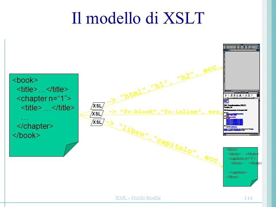 XML - Guido Boella145 Come funziona XSLT XSLT è un linguaggio di trasformazione: dato un documento XML, è possibile generare un altro documento XML derivato applicando delle regole di trasformazione specificate nello stylesheet.