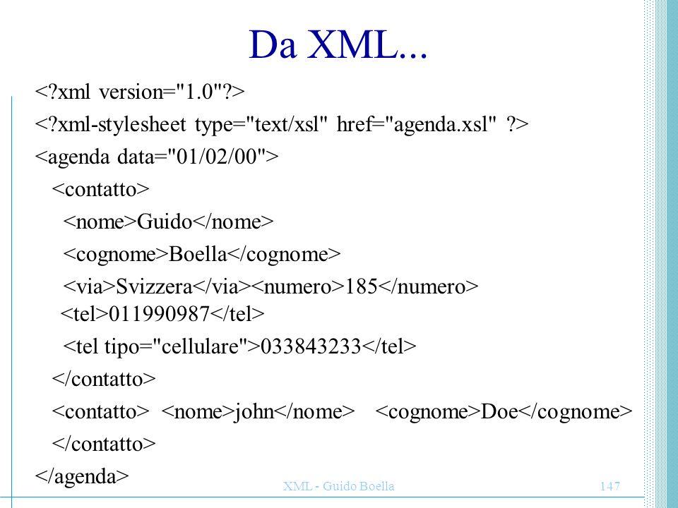 XML - Guido Boella147 Da XML... Guido Boella Svizzera 185 011990987 033843233 john Doe