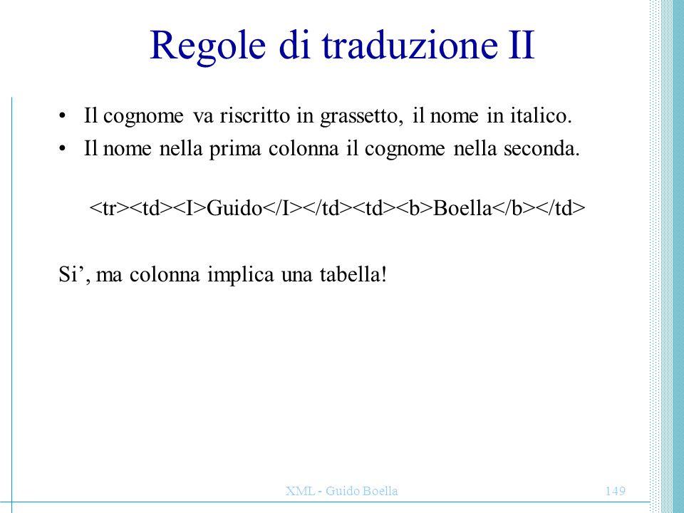 XML - Guido Boella149 Regole di traduzione II Il cognome va riscritto in grassetto, il nome in italico. Il nome nella prima colonna il cognome nella s