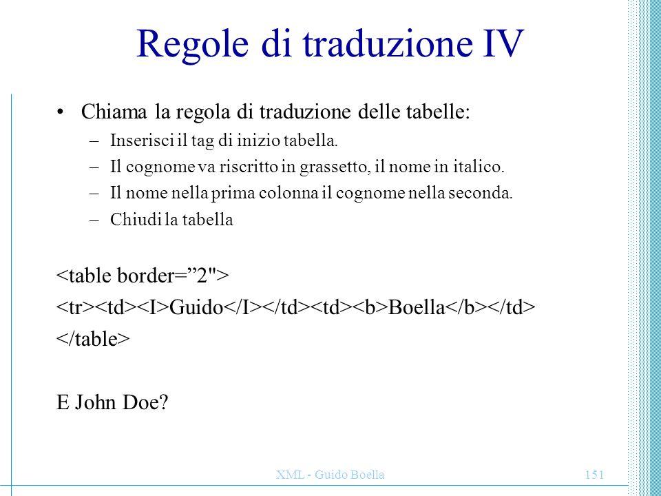 XML - Guido Boella151 Regole di traduzione IV Chiama la regola di traduzione delle tabelle: –Inserisci il tag di inizio tabella. –Il cognome va riscri