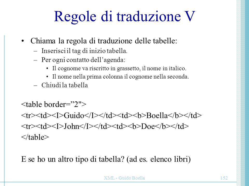 XML - Guido Boella152 Regole di traduzione V Chiama la regola di traduzione delle tabelle: –Inserisci il tag di inizio tabella. –Per ogni contatto del