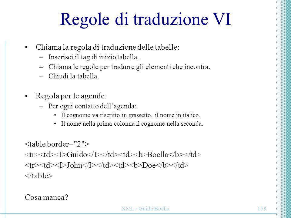 XML - Guido Boella154 Regole di traduzione VII Regola per tradurre un documento XML: –Metti tag HTML, intestazione e body –Chiama la regola di traduzione delle tabelle: –Inserisci il tag di inizio tabella.