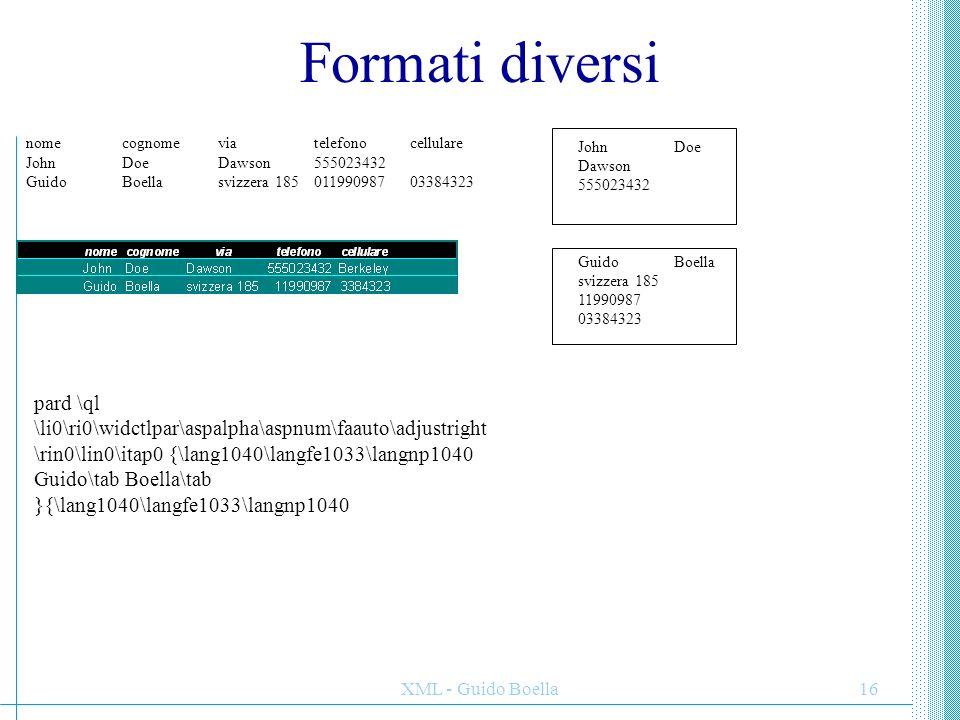 XML - Guido Boella16 Formati diversi nomecognomeviatelefonocellulare JohnDoeDawson555023432 GuidoBoellasvizzera 18501199098703384323 JohnDoe Dawson 55
