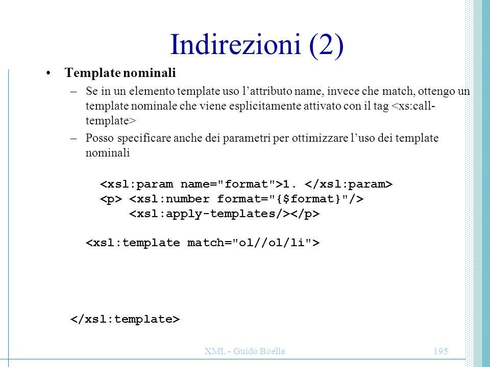 XML - Guido Boella195 Indirezioni (2) Template nominali –Se in un elemento template uso l'attributo name, invece che match, ottengo un template nomina