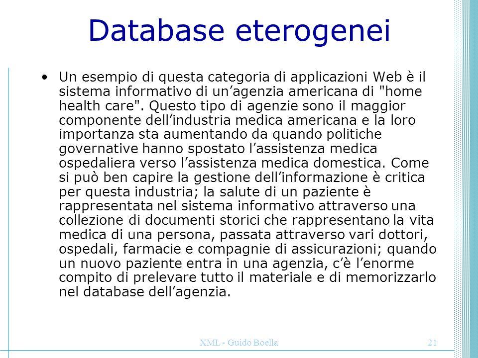 XML - Guido Boella21 Database eterogenei Un esempio di questa categoria di applicazioni Web è il sistema informativo di un'agenzia americana di