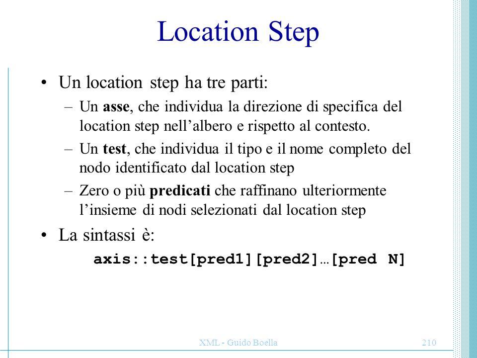 XML - Guido Boella211 Assi Gli assi identificano la direzione rispetto alla struttura del documento in cui andare a cercare l'oggetto da restituire rispetto al nodo contesto (NC).
