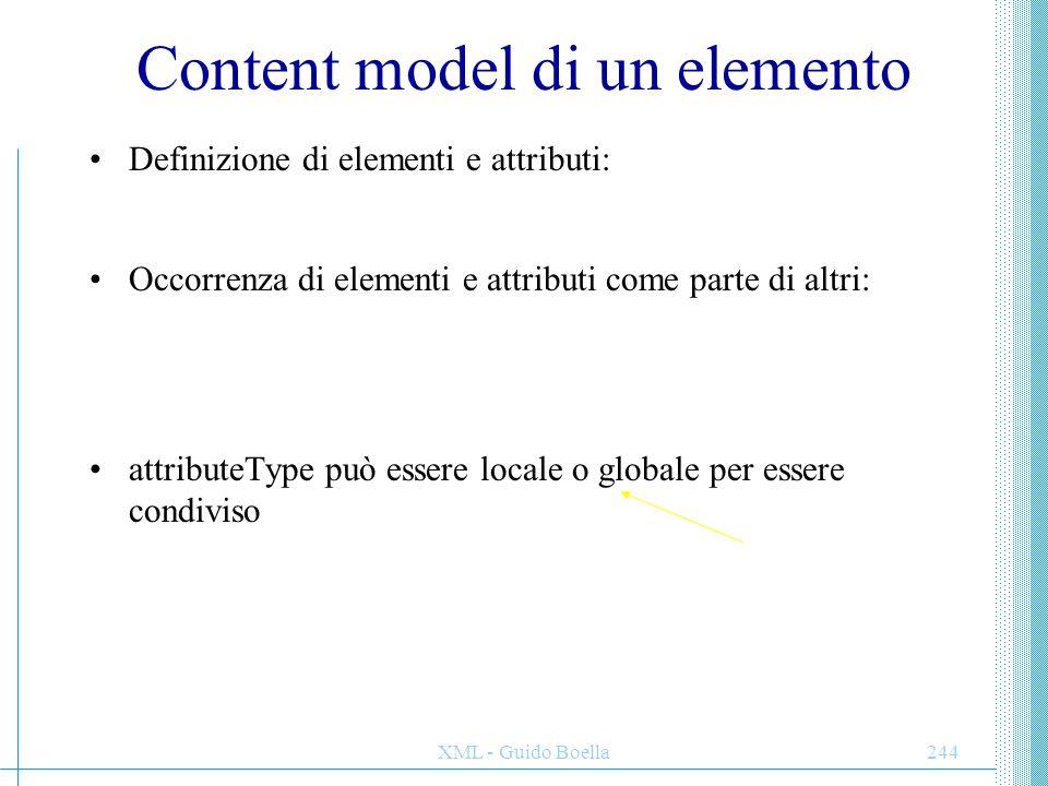 XML - Guido Boella245 ElementType ed element Attributi ElementType: –content: textonly, eltonly, mixed ( default ), empty (mixed: Bill Gates ) –order: seq ( default ), one ( solo uno dei figli ), many ( duplicazioni ) –model (novità): open ( default ), closed se un content model è open, può contenere elementi e attributi appartenenti ad altri namespace senza che siano dichiarati localmente