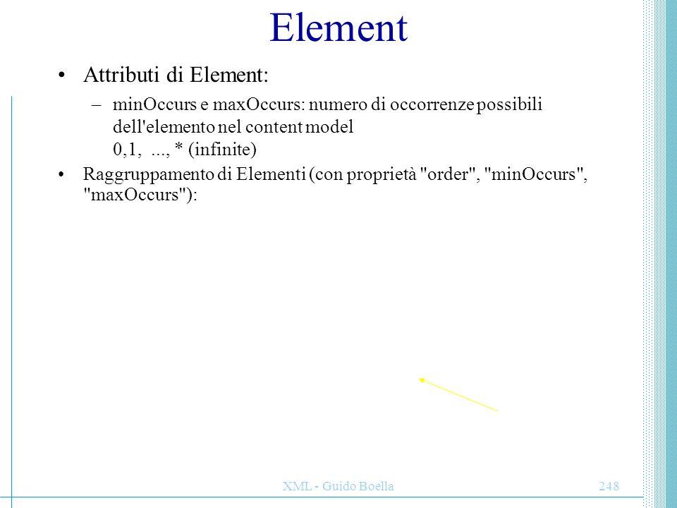 XML - Guido Boella249 Attributi Gli attributi non possono contenere sottoelementi, non hanno ordinamento, nè si possono porre alternative, occorrono una sola volta Opzionalità od obbligatorietà: required = yes o no Range di valori e default: NAMESPACE dei tipi