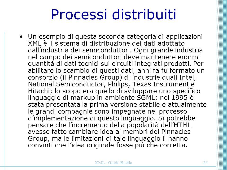 XML - Guido Boella26 Processi distribuiti Un esempio di questa seconda categoria di applicazioni XML è il sistema di distribuzione dei dati adottato d