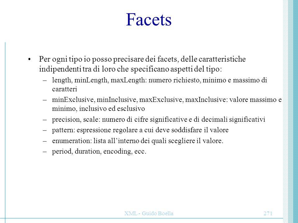 XML - Guido Boella271 Facets Per ogni tipo io posso precisare dei facets, delle caratteristiche indipendenti tra di loro che specificano aspetti del t