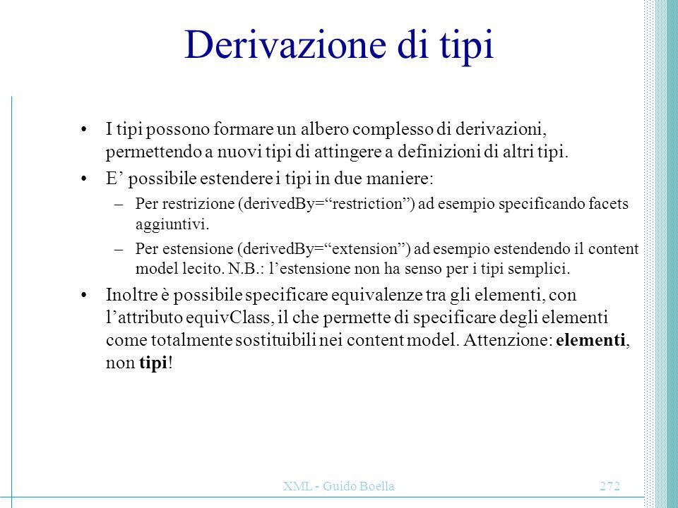 XML - Guido Boella272 Derivazione di tipi I tipi possono formare un albero complesso di derivazioni, permettendo a nuovi tipi di attingere a definizio