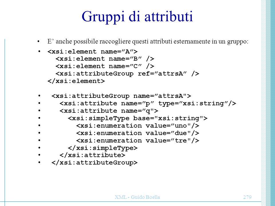 XML - Guido Boella280 Annotazioni Nei DTD l'unico posto dove mettere note e istruzioni di compilazione sono i commenti.