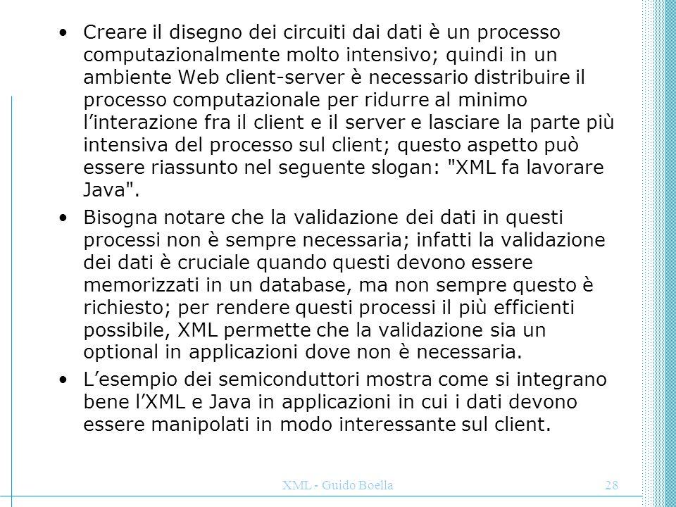 XML - Guido Boella29 Motori di ricerca XML permette di aggiungere informazioni semantiche al testo: Giancarlo Parma questo permette di semplificare la creazione di applicazioni che svolgono operazioni intelligenti con i documenti elettronici; un motore di ricerca sarebbe in grado di eseguire ricerche esplicite nel Web per trovare tutti i documenti in cui Giancarlo Parma è l'autore; in questo modo si può superare uno dei limiti dell'HTML, in cui i dati sono orientati al video e difficili da utilizzare per una elaborazione successiva; a questo riguardo, il commercio on-line è in pieno sviluppo e sempre più commercianti in tutto il mondo si stanno affacciando nel Web; però un'indagine su un campione di acquirenti abituali via Internet, ha evidenziato una certa frustrazione da parte dei consumatori per la difficoltà di trovare i prodotti di cui hanno bisogno; il problema risiede nel sistema di indicizzazione delle merci, non sempre intuitivo e semplice come l'utente vorrebbe.
