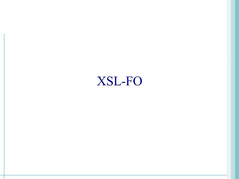XML - Guido Boella286 Introduzione Oggi esaminiamo in breve: –XSLFO, ovvero un vocabolario di elementi che specificano una semantica di formattazione per documenti XML.