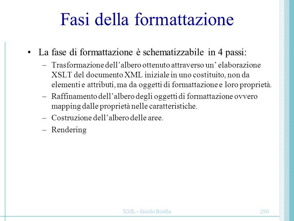 XML - Guido Boella290 Fasi della formattazione La fase di formattazione è schematizzabile in 4 passi: –Trasformazione dell'albero ottenuto attraverso