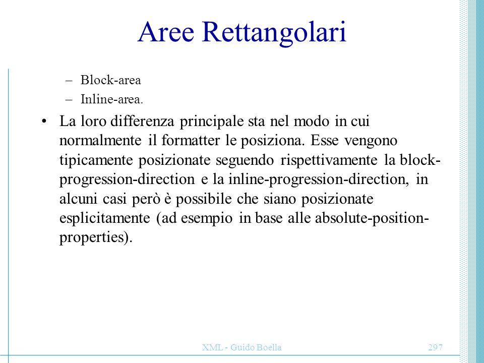 XML - Guido Boella297 Aree Rettangolari –Block-area –Inline-area. La loro differenza principale sta nel modo in cui normalmente il formatter le posizi