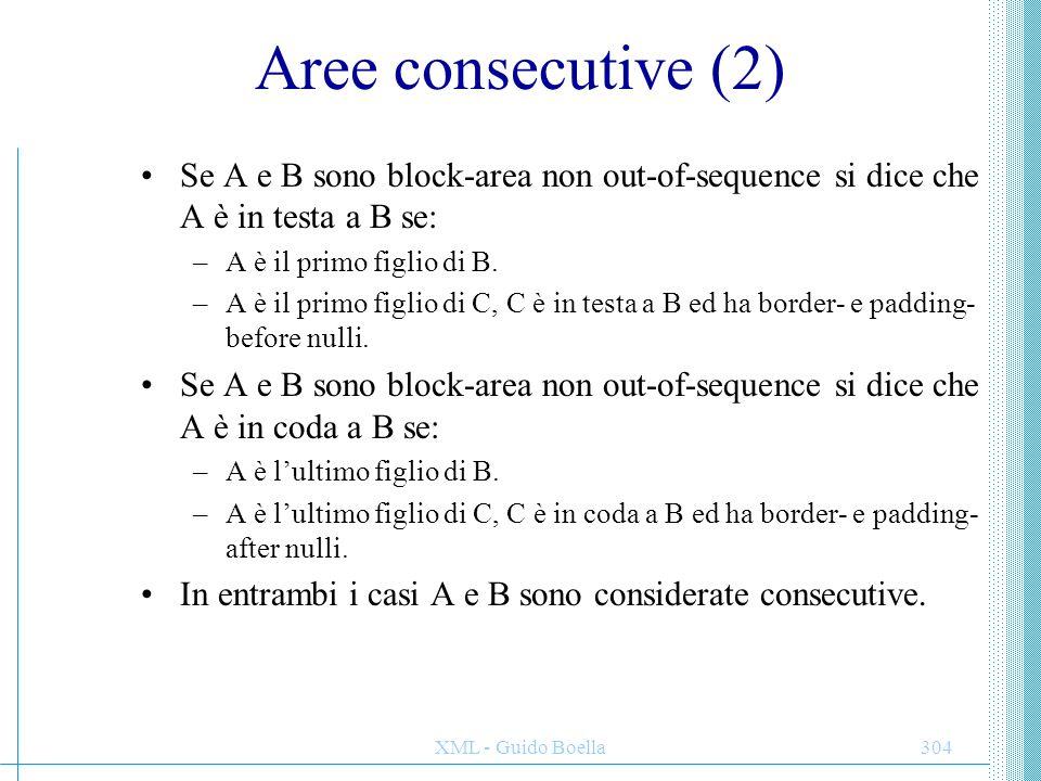XML - Guido Boella304 Aree consecutive (2) Se A e B sono block-area non out-of-sequence si dice che A è in testa a B se: –A è il primo figlio di B. –A