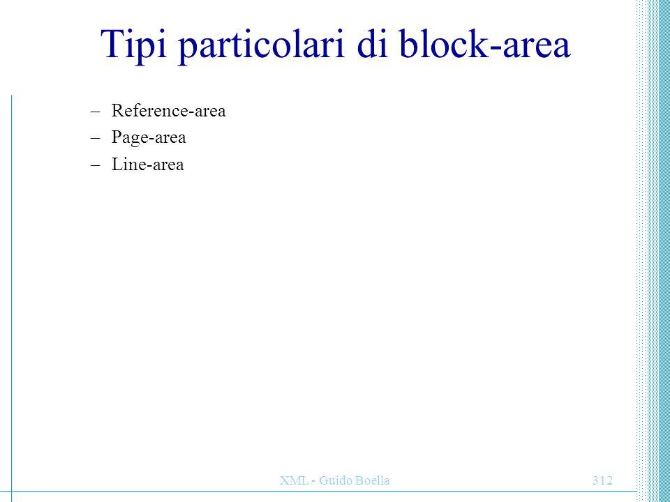 XML - Guido Boella313 Posizionamento delle block-area Data un'area P i cui figli sono block-area, gli elementi in P si dicono propriamente posizionati se: Per ogni block-area B figlia di P sia ha che: I lati before e after dell'allocation-rectangle di B devono essere paralleli ai corrispondenti lati del content-rectangle di P.