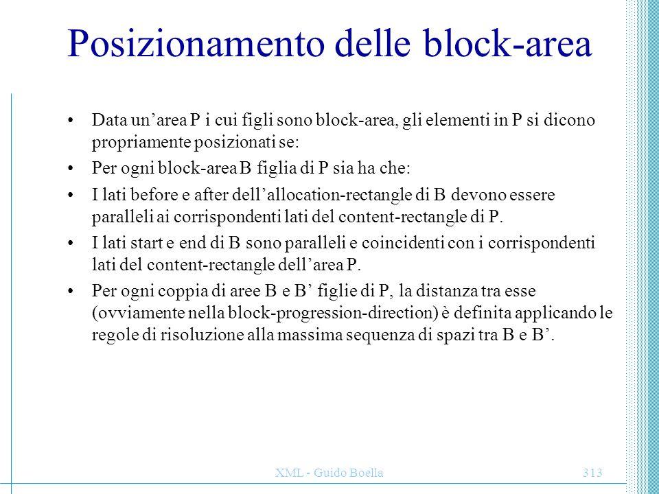 XML - Guido Boella313 Posizionamento delle block-area Data un'area P i cui figli sono block-area, gli elementi in P si dicono propriamente posizionati
