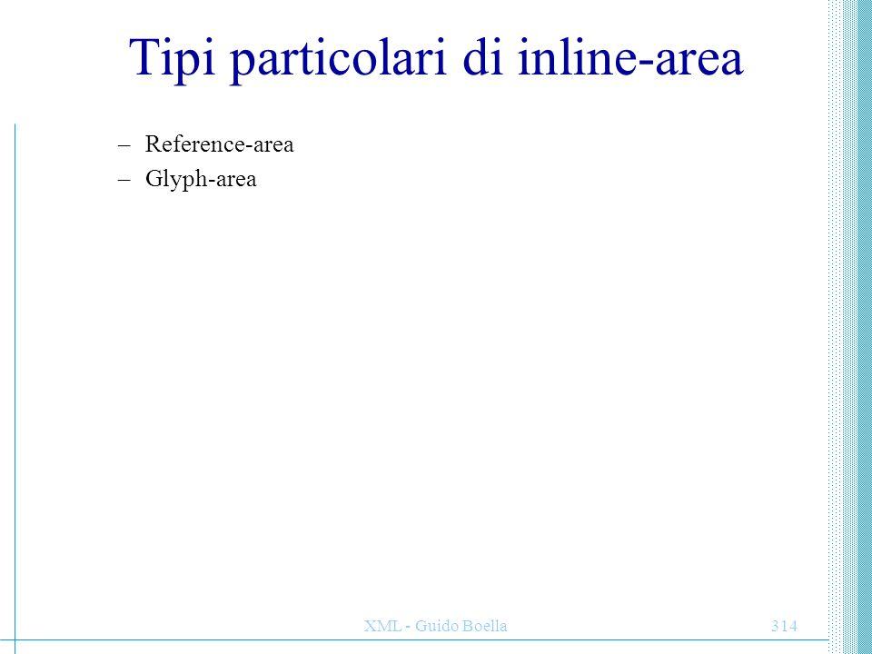 XML - Guido Boella315 Posizionamento delle inline-area Data un'area P i cui figli sono inline-area, gli elementi in P si dicono propriamente posizionati se le seguenti condizioni sono verificate: –Per ogni inline-area I in P, i lati start, end, after e before dell'allocation-rectangle di I sono paralleli ai corrispondenti lati del content-rectangle dell'area P.